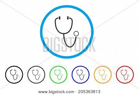 Stethoscope rounded icon. Style is a flat stethoscope gray symbol inside light blue circle with black, gray, green, blue, red, orange color versions. Vector designed for web and software interfaces.