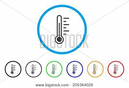 Temperature rounded icon. Style is a flat temperature gray symbol inside light blue circle with black, gray, green, blue, red, orange versions. Vector designed for web and software interfaces.