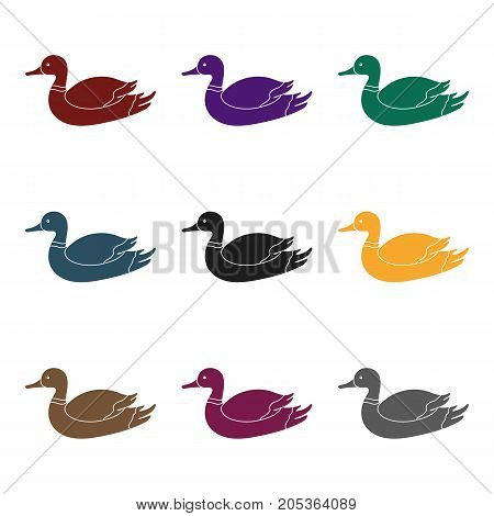 Duck icon in black style isolated on white background. Hunting symbol vector illustration.