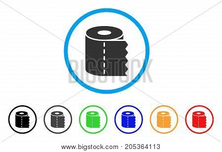 Toilet Paper rounded icon. Style is a flat toilet paper gray symbol inside light blue circle with black, gray, green, blue, red, orange versions. Vector designed for web and software interfaces.