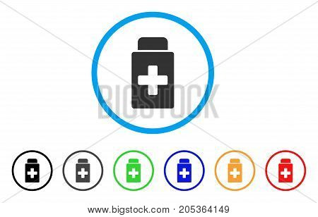 Treatment Vial rounded icon. Style is a flat treatment vial gray symbol inside light blue circle with black, gray, green, blue, red, orange variants. Vector designed for web and software interfaces.