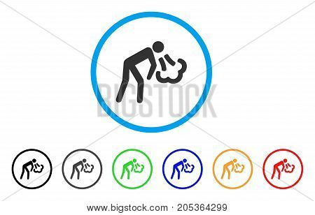 Vomiting rounded icon. Style is a flat vomiting gray symbol inside light blue circle with black, gray, green, blue, red, orange versions. Vector designed for web and software interfaces.