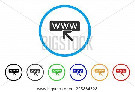 Website Address rounded icon. Style is a flat website address gray symbol inside light blue circle with black, gray, green, blue, red, orange color versions.