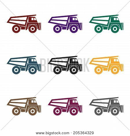 Haul truck icon in black style isolated on white background. Mine symbol vector illustration.