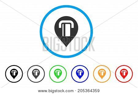 ATM Map Marker rounded icon. Style is a flat atm map marker grey symbol inside light blue circle with black, gray, green, blue, red, orange color versions.