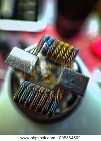 Staple Staggered Fused Clapton Coil Color Background
