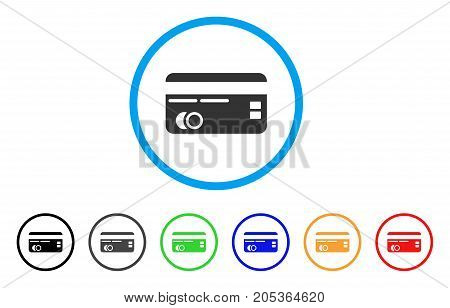 Credit Card rounded icon. Style is a flat credit card grey symbol inside light blue circle with black, gray, green, blue, red, orange variants. Vector designed for web and software interfaces.