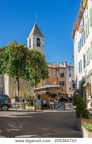 TOURRETTES-SUR-LOUP FRANCE - APRIL 25 2016: Street of Tourrettes-sur-Loup a medieval village in the Alpes-Maritimes department in southeastern France