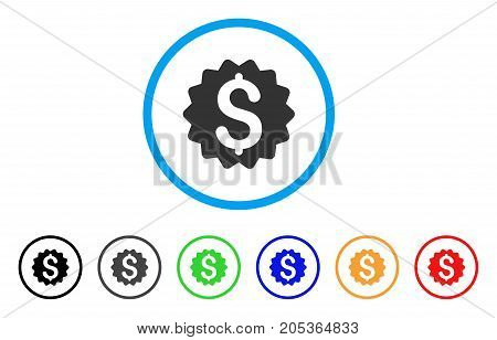 Financial Reward Seal rounded icon. Style is a flat financial reward seal grey symbol inside light blue circle with black, gray, green, blue, red, orange versions.