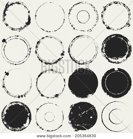 Distressed Circle Stamp Vector Black Color Overlay Textures Set. Thin And Bold Grunge distress Template background For your design. EPS10 vector.