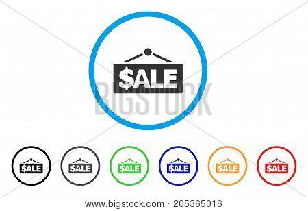 Sale Label rounded icon. Style is a flat sale label grey symbol inside light blue circle with black, gray, green, blue, red, orange variants. Vector designed for web and software interfaces.