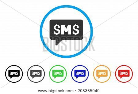 SMS Message rounded icon. Style is a flat sms message gray symbol inside light blue circle with black, gray, green, blue, red, orange versions. Vector designed for web and software interfaces.