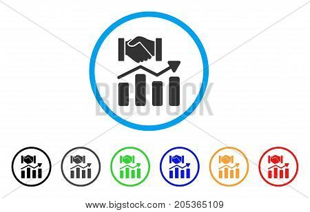 Acquisition Hands Graph Trend rounded icon. Style is a flat Acquisition hands graph trend gray symbol inside light blue circle with black, gray, green, blue, red, orange color versions.