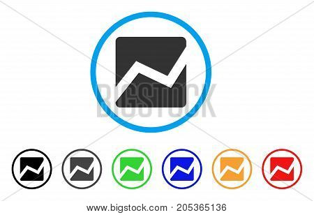 Analytics Chart rounded icon. Style is a flat analytics chart gray symbol inside light blue circle with black, gray, green, blue, red, orange variants. Vector designed for web and software interfaces.
