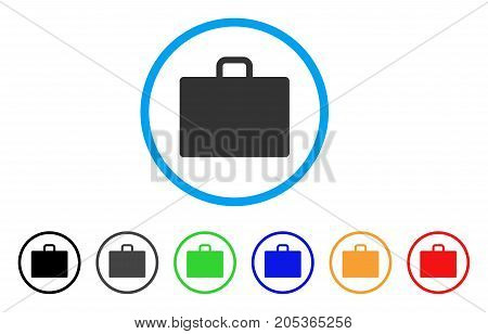 Case rounded icon. Style is a flat case grey symbol inside light blue circle with black, gray, green, blue, red, orange variants. Vector designed for web and software interfaces.