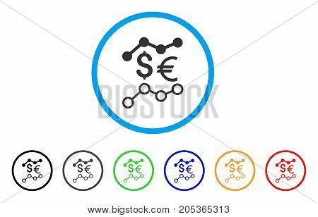 Currency Trends rounded icon. Style is a flat currency trends grey symbol inside light blue circle with black, gray, green, blue, red, orange color versions.