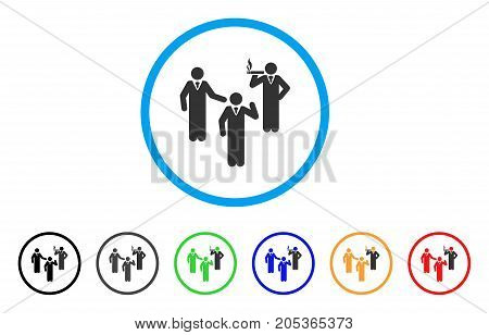 Discuss Standing Persons rounded icon. Style is a flat discuss standing persons grey symbol inside light blue circle with black, gray, green, blue, red, orange variants.