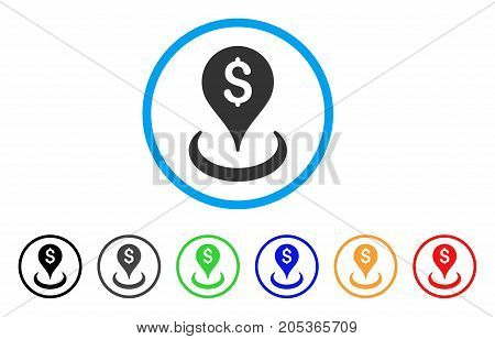 Geo Targeting rounded icon. Style is a flat geo targeting grey symbol inside light blue circle with black, gray, green, blue, red, orange versions. Vector designed for web and software interfaces.