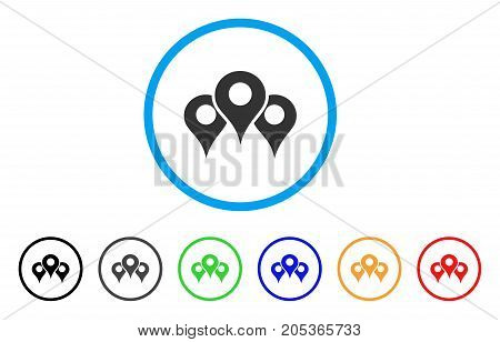 Map Locations rounded icon. Style is a flat map locations gray symbol inside light blue circle with black, gray, green, blue, red, orange variants. Vector designed for web and software interfaces.