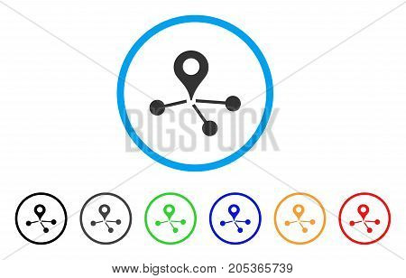 Map Marker Network rounded icon. Style is a flat map marker network grey symbol inside light blue circle with black, gray, green, blue, red, orange color versions.