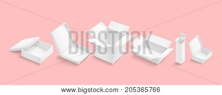 White box collection isolated on color background. Container for product. Vector illustration.