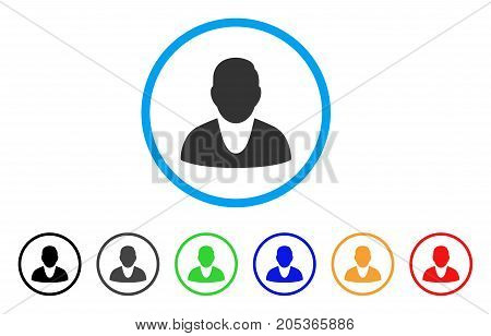 Client rounded icon. Style is a flat client gray symbol inside light blue circle with black, gray, green, blue, red, orange variants. Vector designed for web and software interfaces.