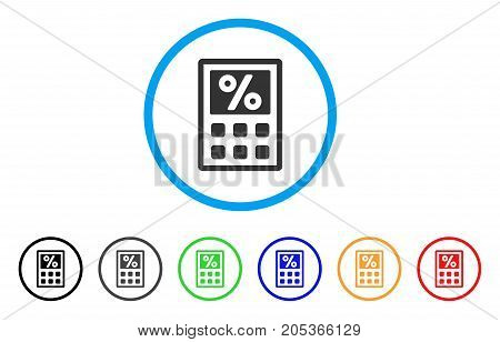 Tax Calculator rounded icon. Style is a flat tax calculator gray symbol inside light blue circle with black, gray, green, blue, red, orange color versions.