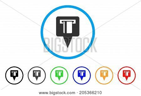 ATM Machine Map Pointer rounded icon. Style is a flat atm machine map pointer grey symbol inside light blue circle with black, gray, green, blue, red, orange variants.