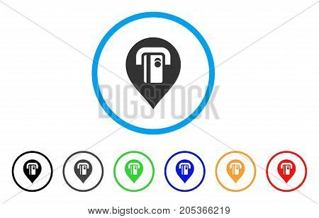 ATM Machine Pointer rounded icon. Style is a flat atm machine pointer grey symbol inside light blue circle with black, gray, green, blue, red, orange versions.