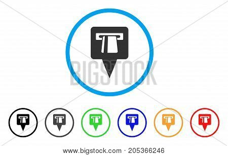 ATM Pointer rounded icon. Style is a flat atm pointer gray symbol inside light blue circle with black, gray, green, blue, red, orange versions. Vector designed for web and software interfaces.
