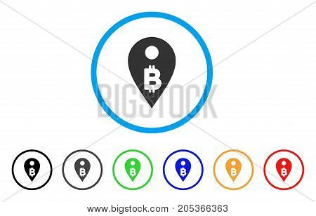 Bitcoin Map Marker rounded icon. Style is a flat bitcoin map marker gray symbol inside light blue circle with black, gray, green, blue, red, orange variants.