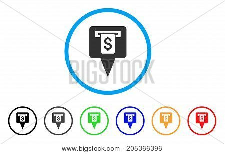 Cash Machine Map Pointer rounded icon. Style is a flat cash machine map pointer gray symbol inside light blue circle with black, gray, green, blue, red, orange variants.