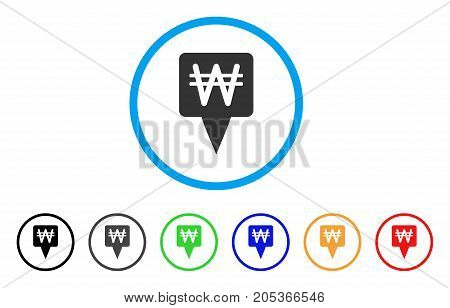 Korean Won Map Pointer rounded icon. Style is a flat korean won map pointer gray symbol inside light blue circle with black, gray, green, blue, red, orange color versions.