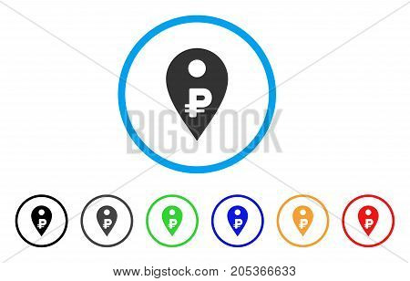 Rouble Map Marker rounded icon. Style is a flat rouble map marker grey symbol inside light blue circle with black, gray, green, blue, red, orange variants.