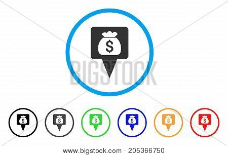 Treasure Map Pointer rounded icon. Style is a flat treasure map pointer gray symbol inside light blue circle with black, gray, green, blue, red, orange versions.