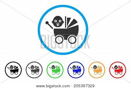 Baby Carriage rounded icon. Style is a flat baby carriage gray symbol inside light blue circle with black, gray, green, blue, red, orange variants. Vector designed for web and software interfaces.