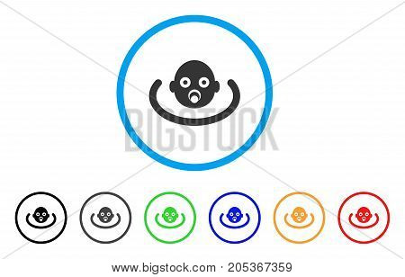 Baby Environment rounded icon. Style is a flat baby environment gray symbol inside light blue circle with black, gray, green, blue, red, orange variants.