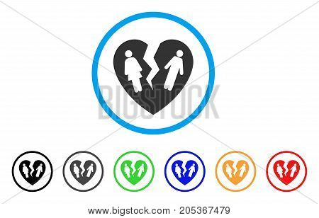 Broken Family Heart rounded icon. Style is a flat broken family heart gray symbol inside light blue circle with black, gray, green, blue, red, orange versions.