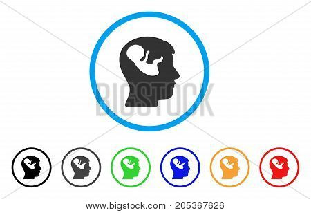 Embryo Mind Head rounded icon. Style is a flat embryo mind head gray symbol inside light blue circle with black, gray, green, blue, red, orange variants.