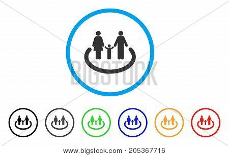 Family Area rounded icon. Style is a flat family area gray symbol inside light blue circle with black, gray, green, blue, red, orange versions. Vector designed for web and software interfaces.