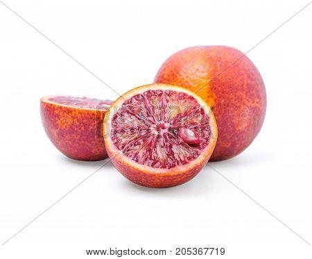 Three of Red orange isolated on white background