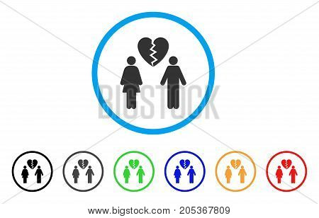 Family Divorce rounded icon. Style is a flat family divorce gray symbol inside light blue circle with black, gray, green, blue, red, orange variants. Vector designed for web and software interfaces.