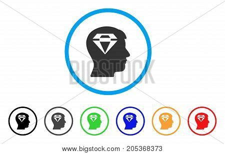 Human Head With Diamond rounded icon. Style is a flat human head with diamond grey symbol inside light blue circle with black, gray, green, blue, red, orange variants.