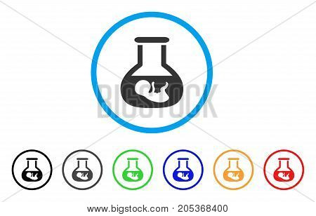 In Vitro Embryo rounded icon. Style is a flat in vitro embryo grey symbol inside light blue circle with black, gray, green, blue, red, orange color versions.