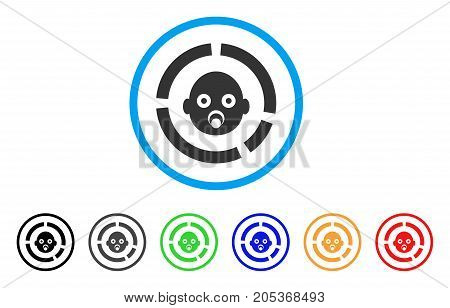 Newborn Diagram rounded icon. Style is a flat newborn diagram grey symbol inside light blue circle with black, gray, green, blue, red, orange versions. Vector designed for web and software interfaces.