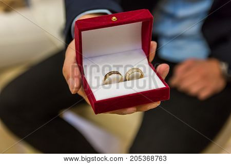 Close up of man holding wedding rings in gift box