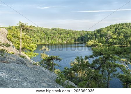 Granite overlook on Long Pond in Hopkinton Rhode Island