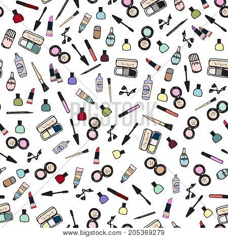 Seamless pattern with make up artist objects lipstick, nail, perfumes, eye shadows, brushes, mascara, powder, eyeliner. Cosmetics fashion background. Vector illustration