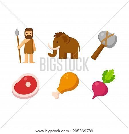 Paleo man and prehistoric food icon set. Caveman hunting tools mammoth and healthy diet with meat and vegetables.