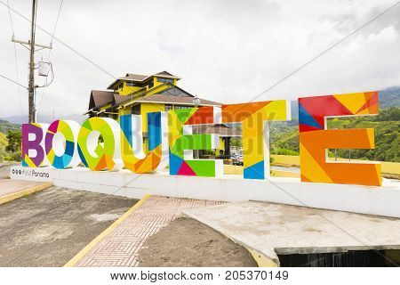 August 2017: At the entrance to the mountain village of Boquete in Chiriqui province Panama you will find this series of large letters. In this square stop the buses connecting the village to other provincial towns.